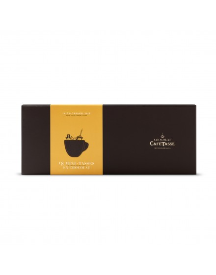 Caixa cartão 18 mini chávenas de chocolate leite caramelo 198g