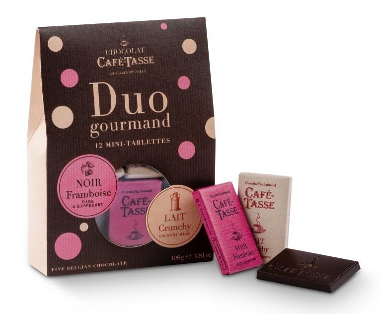 Caixa com 12 mini tabletes de chocolate leite / framboesa 108g