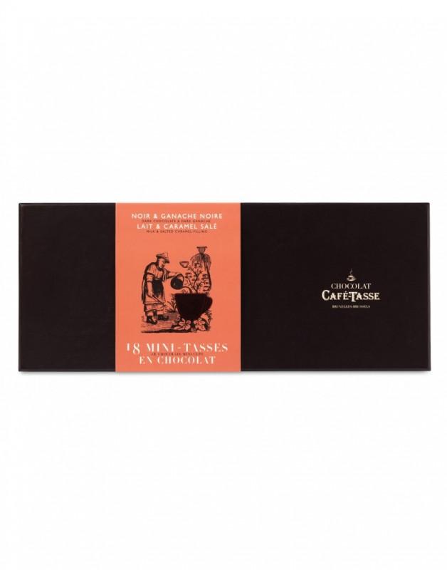 Caixa de cartão com 18 mini chávenas de chocolate negro ganache e chocolate de leite caramelo 198g