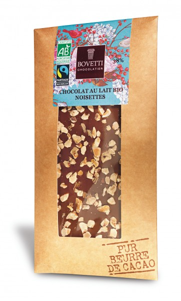 Tablete de chocolate leite com avelãs - biológico 100g