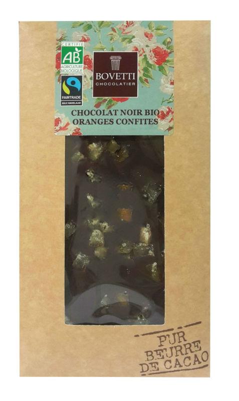 Chocolate negro com laranja confitada 100g biológico