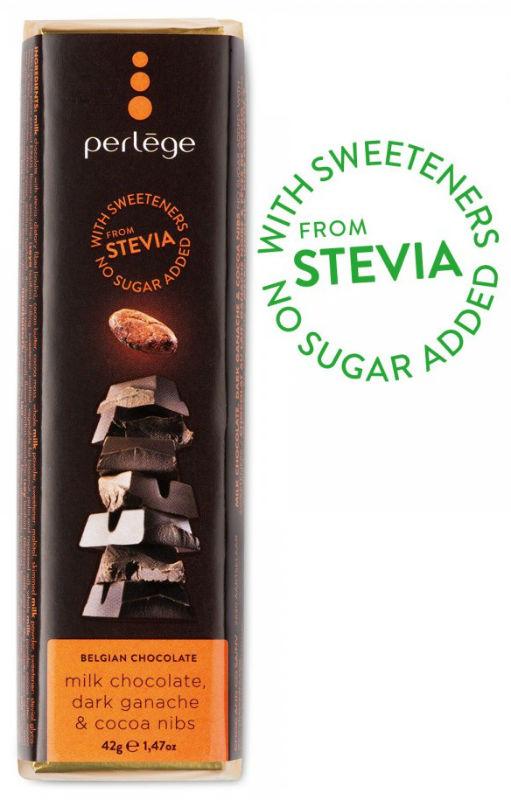 Tablete chocolate de leite com ganache e cacau sem açúcar (stévia) 42g