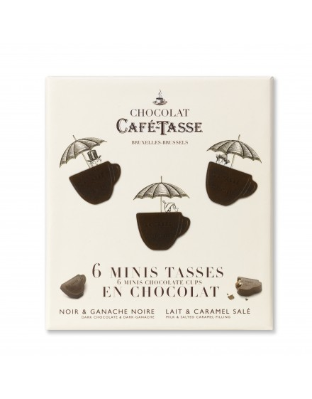 Caixa cartão 6 mini chávenas de chocolate negro ganache / leite caramelo 66g